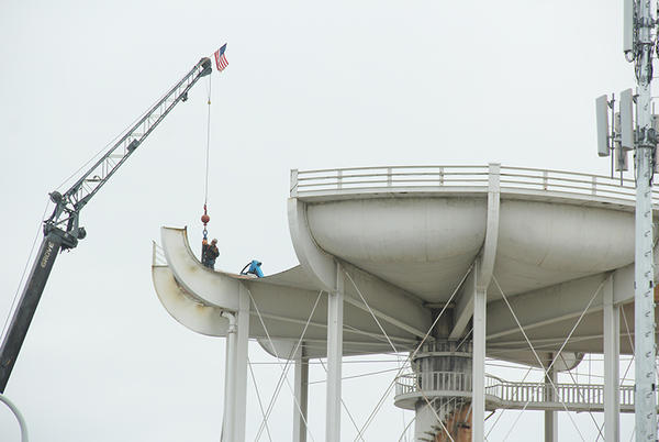 Picture for Demolition of water tower is slated to be complete next week