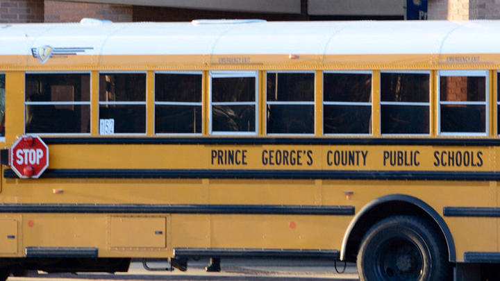 Cover for Prince George's Co. school bus spotted on the streets of Germany