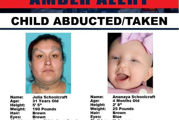 Picture for Amber Alert resolved in Riverside and San Bernardino Counties after missing 4-month-old girl is found