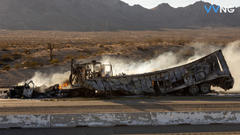 Cover for Semi involved in pursuit erupts into flames on the SB I-15 in Victorville