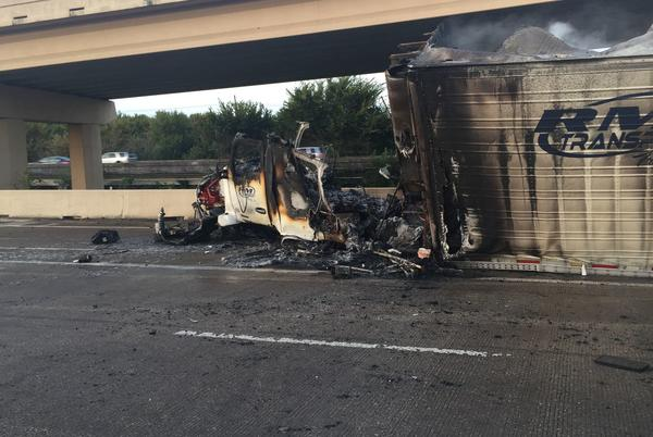 Picture for Portion of I-35 in Lewisville to be shut down through Tuesday evening after fiery 18-wheeler crash