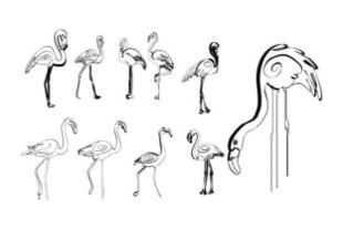 Picture for Line Abstract Flamingo Boho