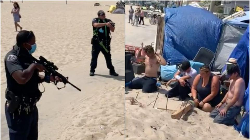 Picture for LAPD responds after video shows heavily armed police raiding homeless camp