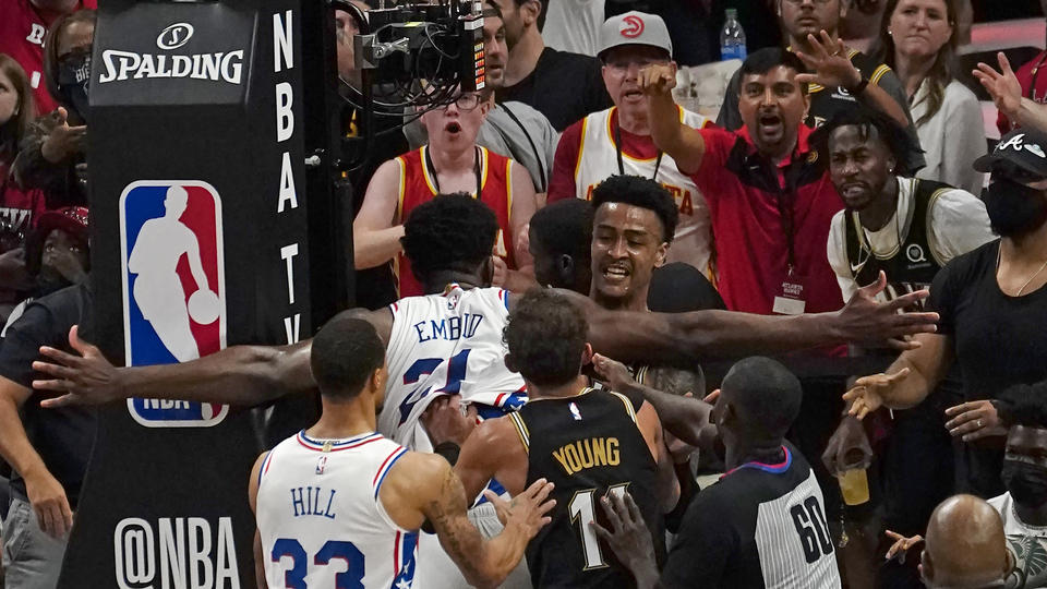 Picture for 76ers' Joel Embiid Fined $35K; Hawks' Bruno Fernando Suspended for Game 7