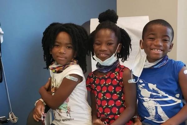Picture for Raleigh triplets participate in Duke's Pfizer COVID vaccine clinical trial for young kids