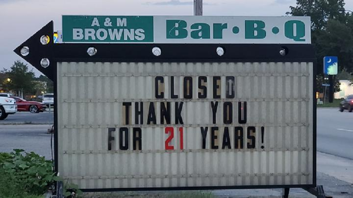 Cover for A&M Brown's Bar-B-Que In Moncks Corner Permanently Closes
