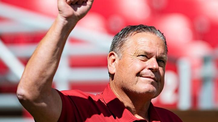 Cover for Sam Pittman responds to wife's question in Arkansas postgame press conference