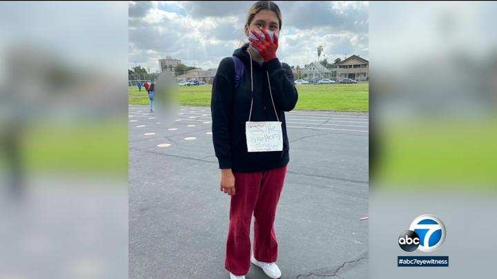 Cover for LAUSD 8th grader wears sign denouncing Christopher Columbus to school on Indigenous Peoples' Day