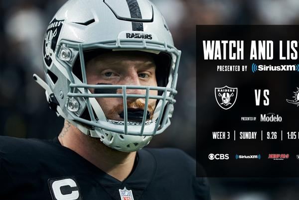 Picture for Raiders vs. Dolphins: How to watch the Week 3 battle