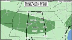 Cover for Isolated severe storms possible in Alabama on Sunday