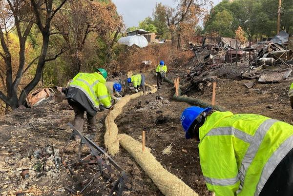Picture for Fast-acting county workers scramble to keep toxic debris from wildfires out of Russian River during rainstorm