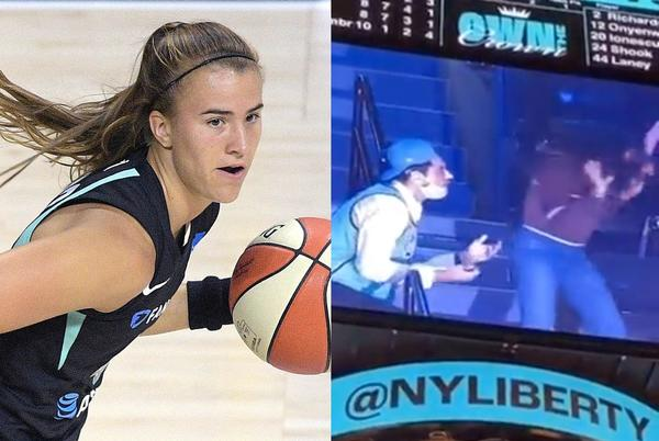 Picture for Sabrina Ionescu was in disbelief when a fan wearing her jersey seemingly had his proposal rejected in humiliating fashion during a game
