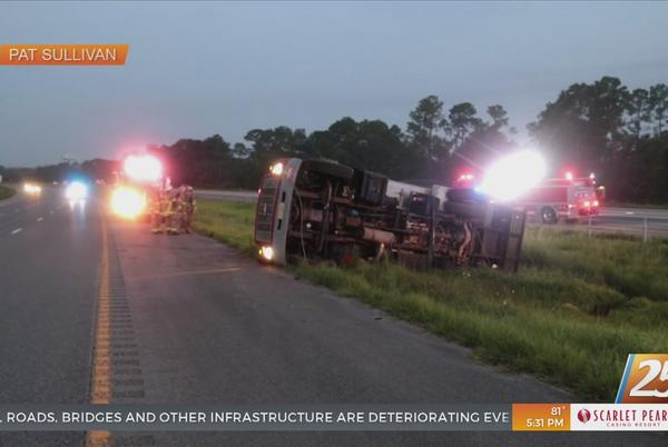 Picture for Overturned fuel truck caused delays on I-10 in Harrison County