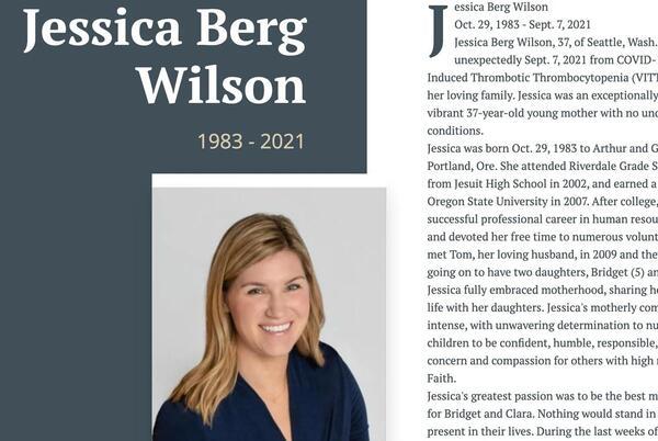 Picture for Rare side effect of Johnson & Johnson COVID vaccine kills Seattle woman Jessica Berg Wilson