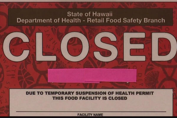Picture for DOH reissues Honolulu restaurant green placard