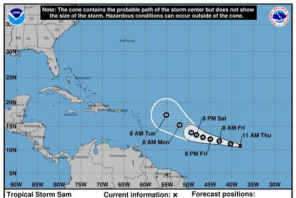 Picture for Tropical Storm Sam Forms in the Atlantic