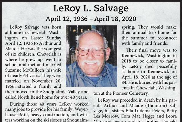 Picture for LeRoy L. Salvage | Obituary
