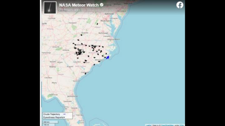 Cover for Fireball that 'skimmed' the North Carolina coast Friday was caught on video, NASA says